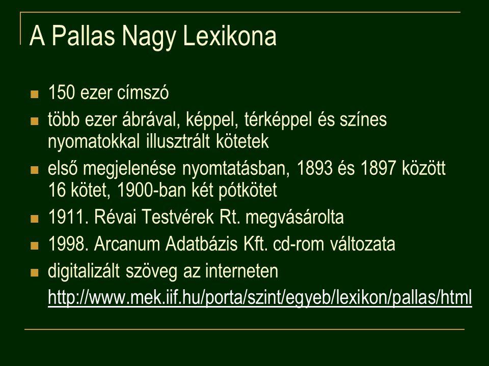 A Pallas Nagy Lexikona 150 ezer címszó