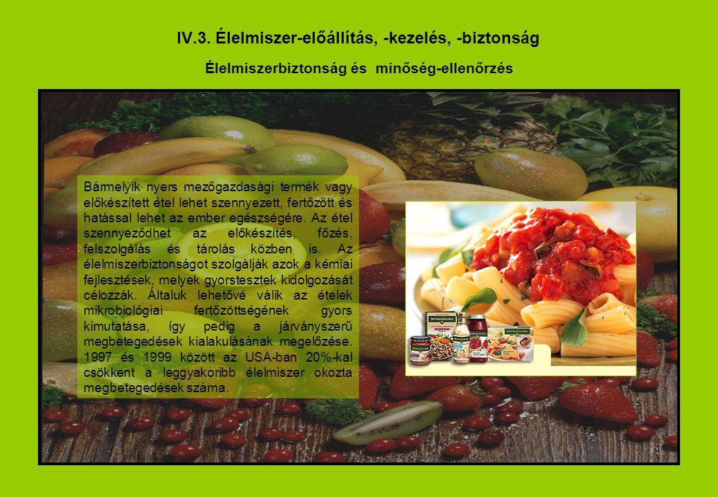 IV.3. Élelmiszer-előállítás, -kezelés, -biztonság