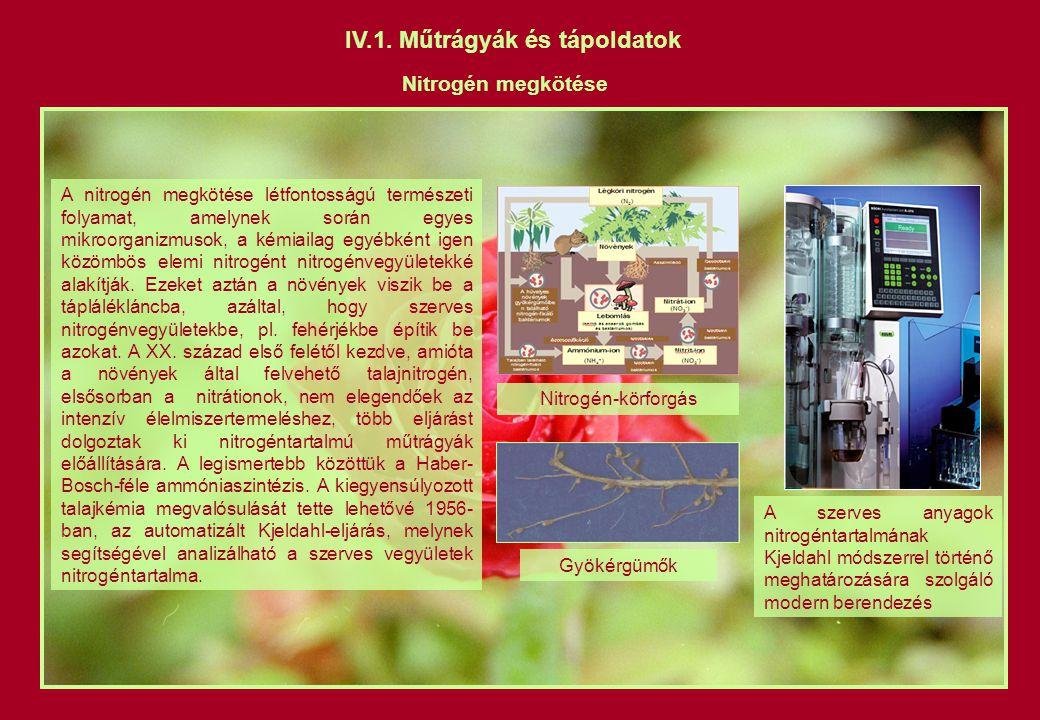 IV.1. Műtrágyák és tápoldatok