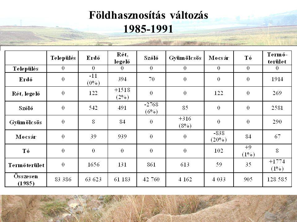 Földhasznosítás változás 1985-1991