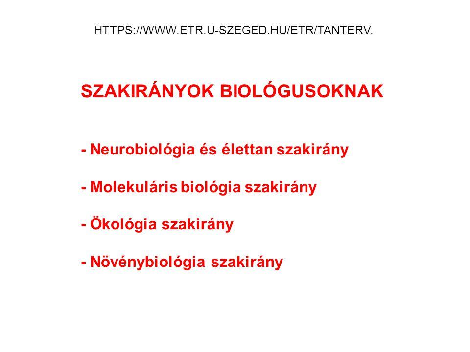 SZAKIRÁNYOK BIOLÓGUSOKNAK