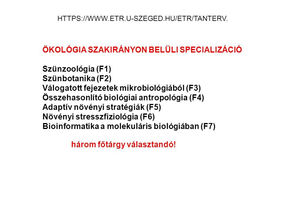 ÖKOLÓGIA SZAKIRÁNYON BELÜLI SPECIALIZÁCIÓ Szünzoológia (F1)