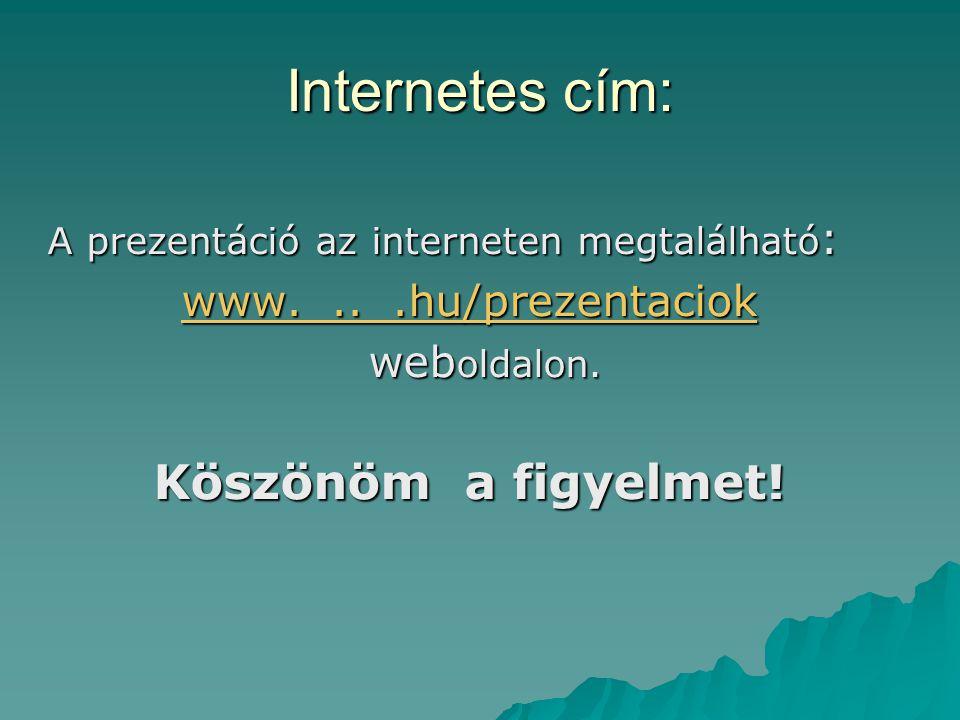 Internetes cím: Köszönöm a figyelmet! www. .. .hu/prezentaciok