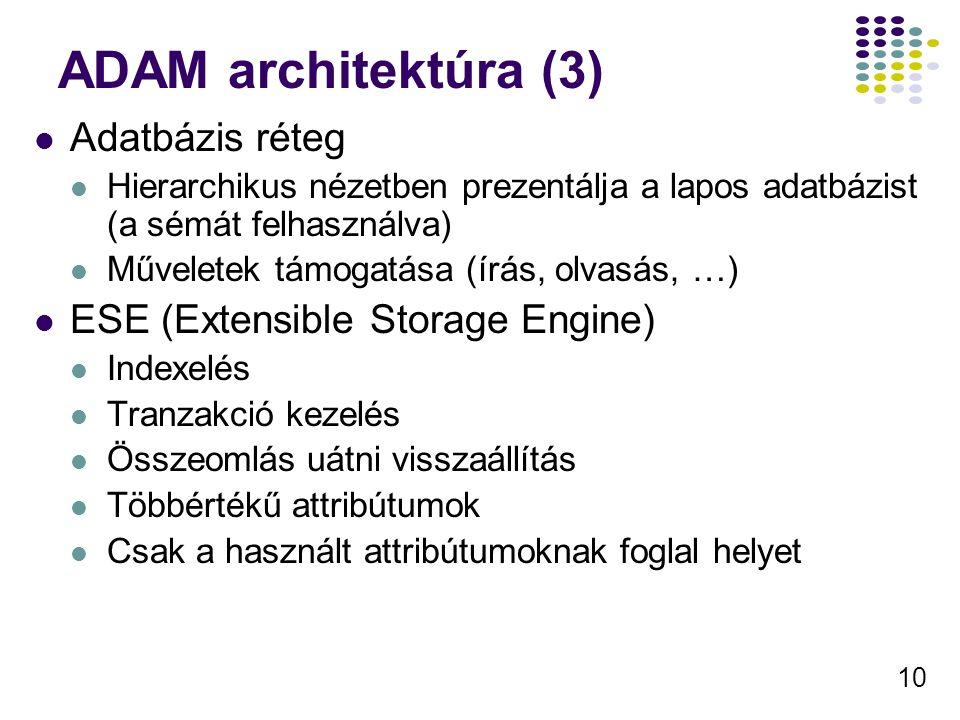 ADAM architektúra (3) Adatbázis réteg ESE (Extensible Storage Engine)