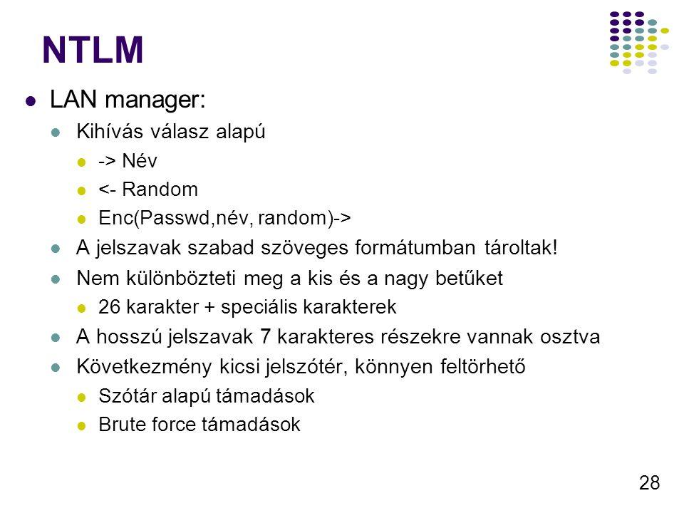 NTLM LAN manager: Kihívás válasz alapú
