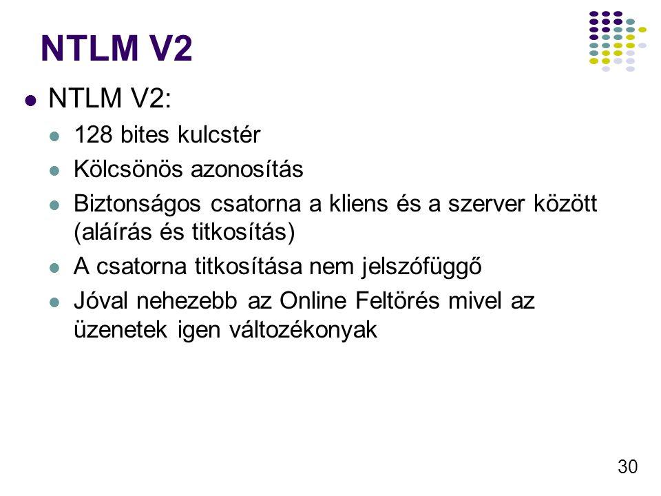 NTLM V2 NTLM V2: 128 bites kulcstér Kölcsönös azonosítás