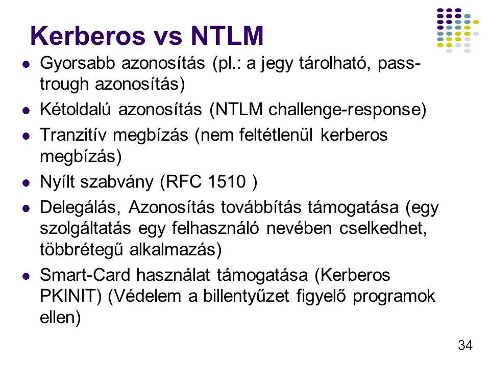 Kerberos vs NTLM Gyorsabb azonosítás (pl.: a jegy tárolható, pass-trough azonosítás) Kétoldalú azonosítás (NTLM challenge-response)