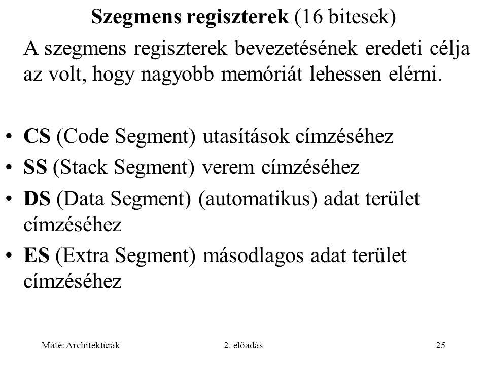 Szegmens regiszterek (16 bitesek)