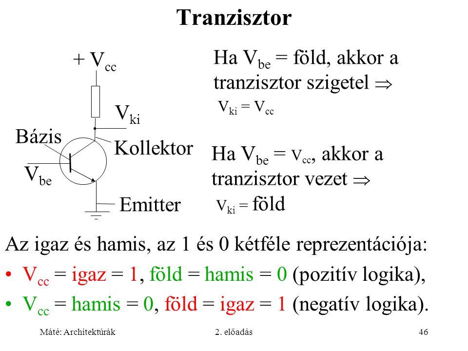 Tranzisztor Ha Vbe = föld, akkor a tranzisztor szigetel  Vki = Vcc