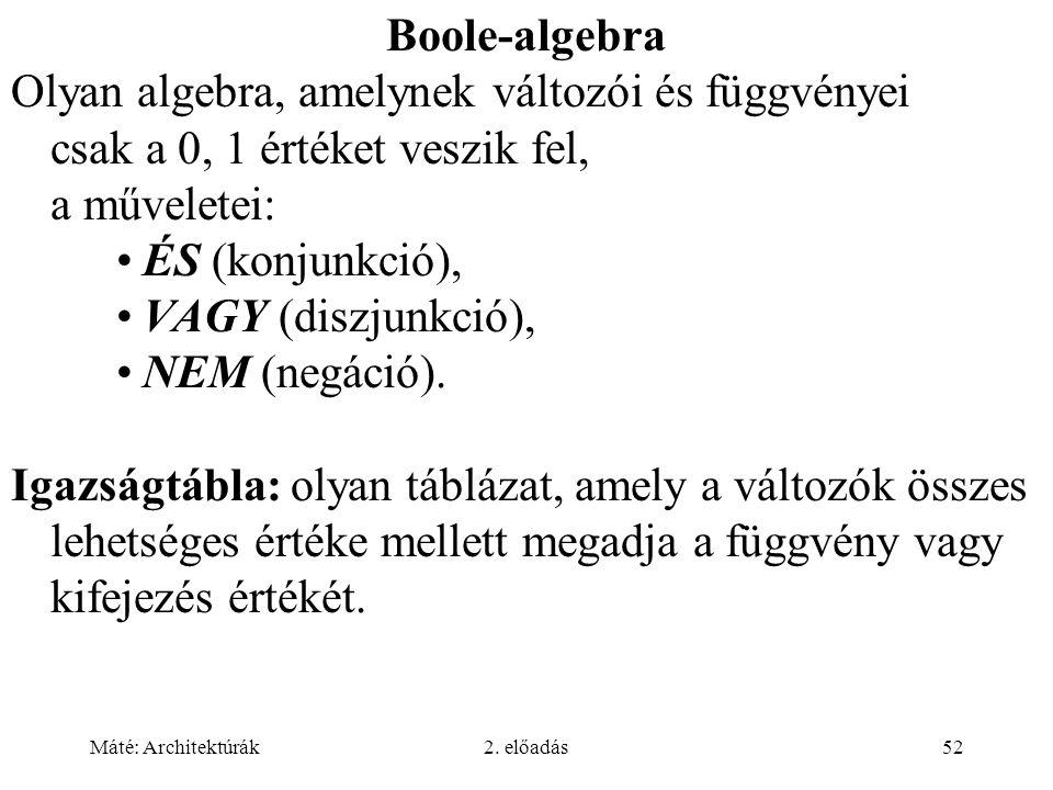 Boole-algebra Olyan algebra, amelynek változói és függvényei csak a 0, 1 értéket veszik fel, a műveletei: