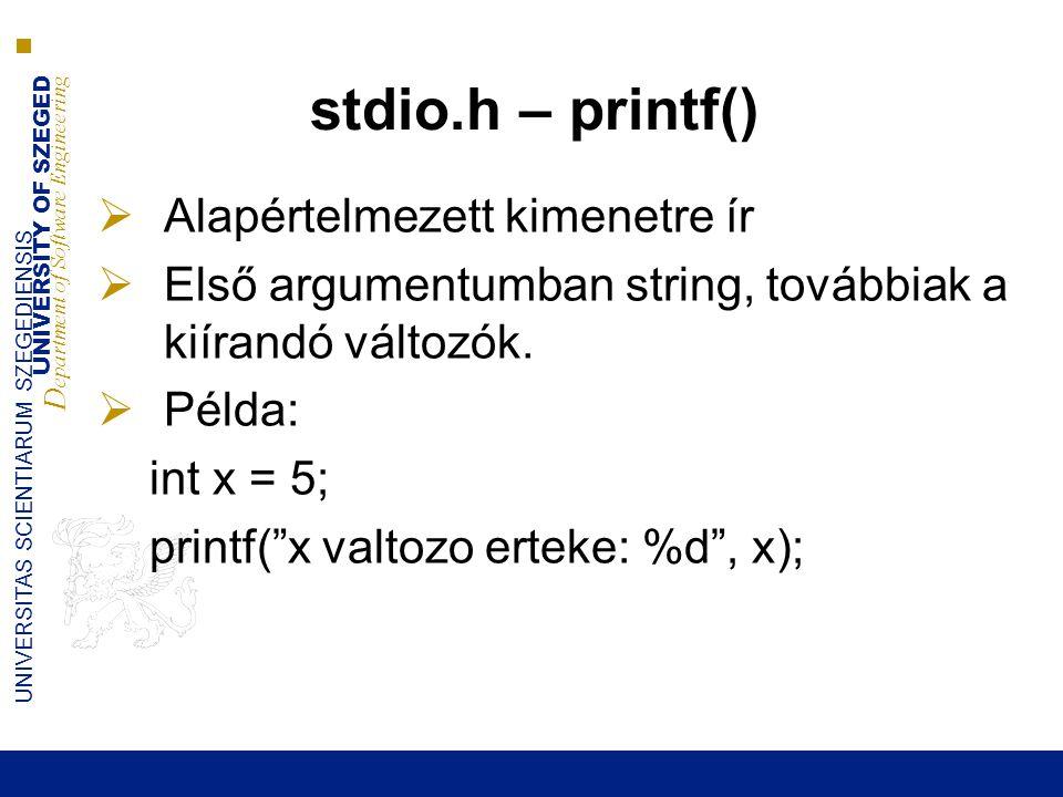 stdio.h – printf() Alapértelmezett kimenetre ír