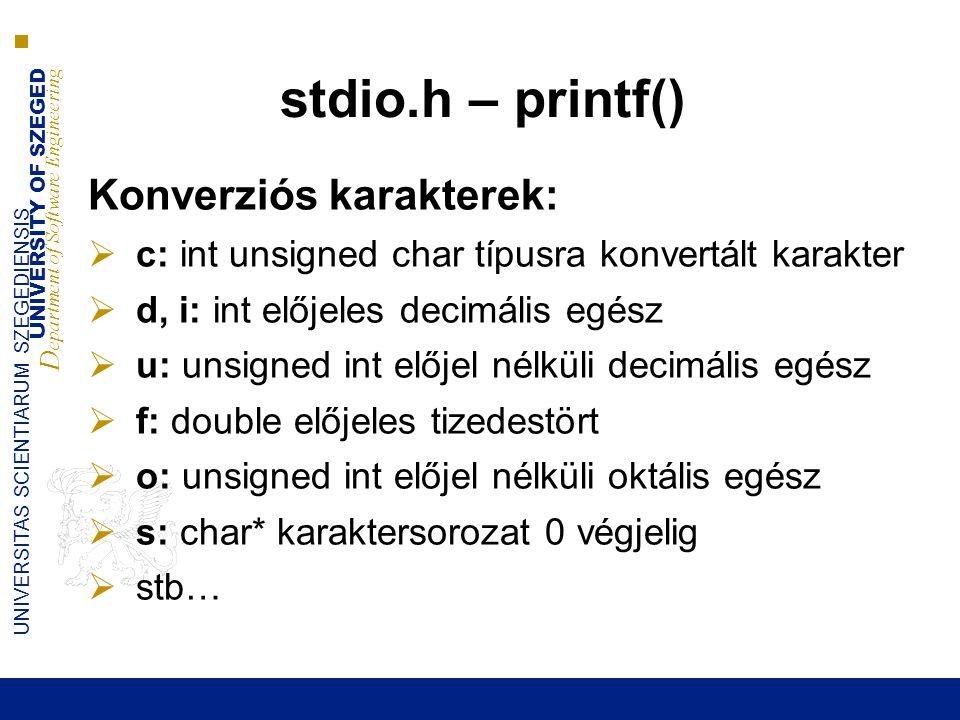 stdio.h – printf() Konverziós karakterek: