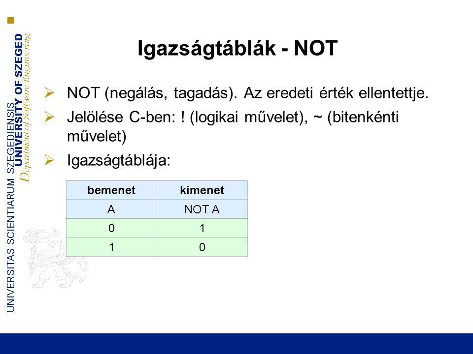 Igazságtáblák - NOT NOT (negálás, tagadás). Az eredeti érték ellentettje. Jelölése C-ben: ! (logikai művelet), ~ (bitenkénti művelet)