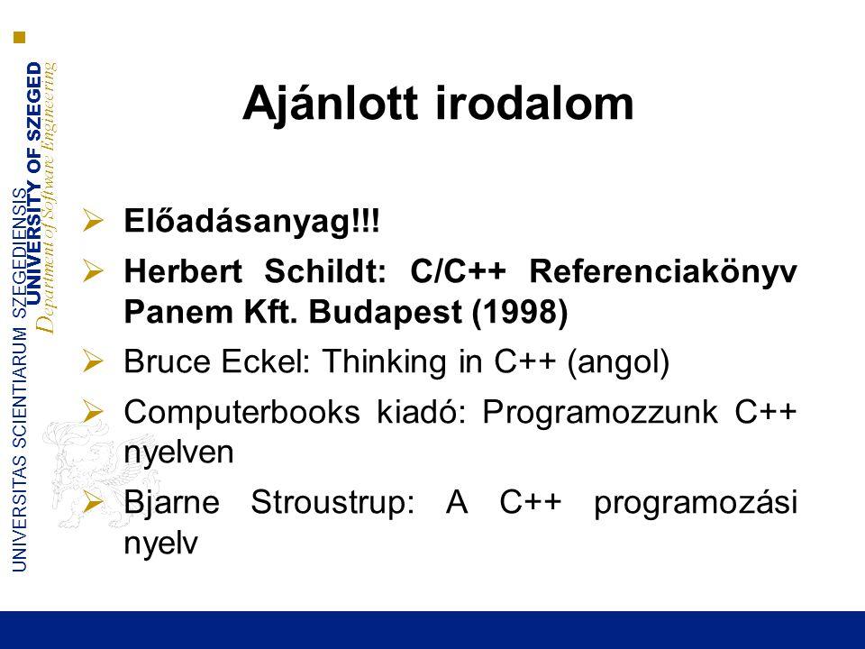 Ajánlott irodalom Előadásanyag!!!