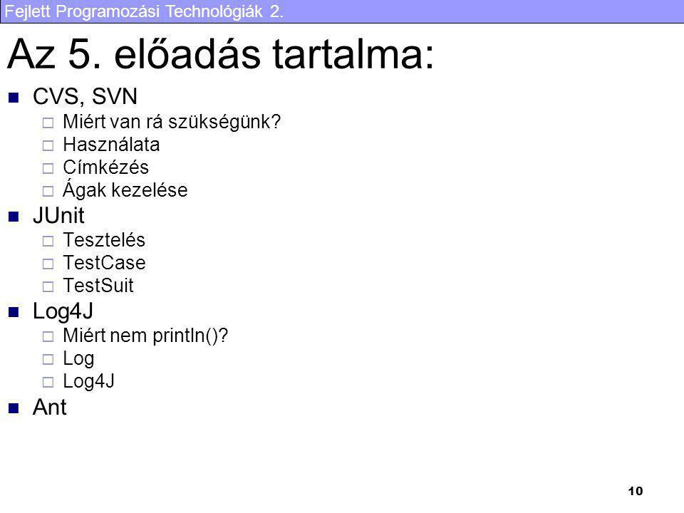 Az 5. előadás tartalma: CVS, SVN JUnit Log4J Ant