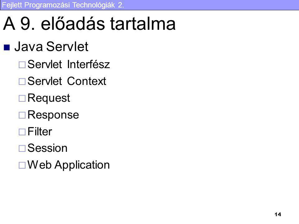 A 9. előadás tartalma Java Servlet Servlet Interfész Servlet Context