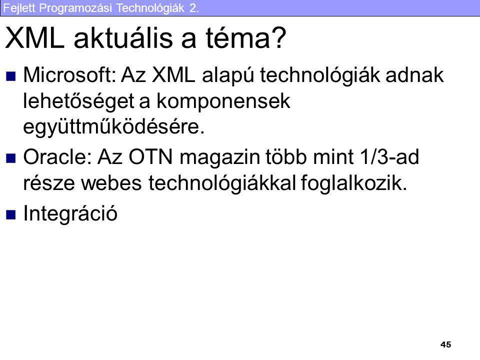 XML aktuális a téma Microsoft: Az XML alapú technológiák adnak lehetőséget a komponensek együttműködésére.