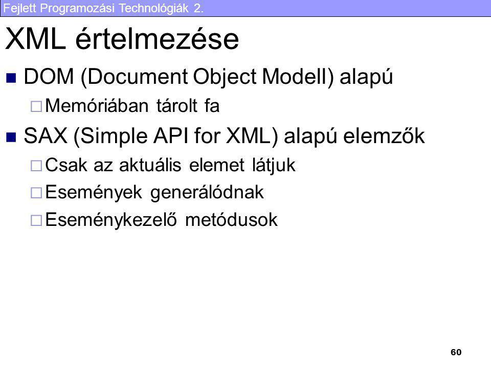 XML értelmezése DOM (Document Object Modell) alapú