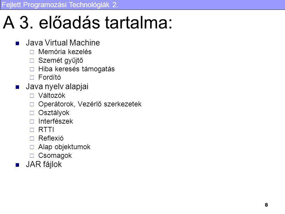 A 3. előadás tartalma: Java Virtual Machine Java nyelv alapjai