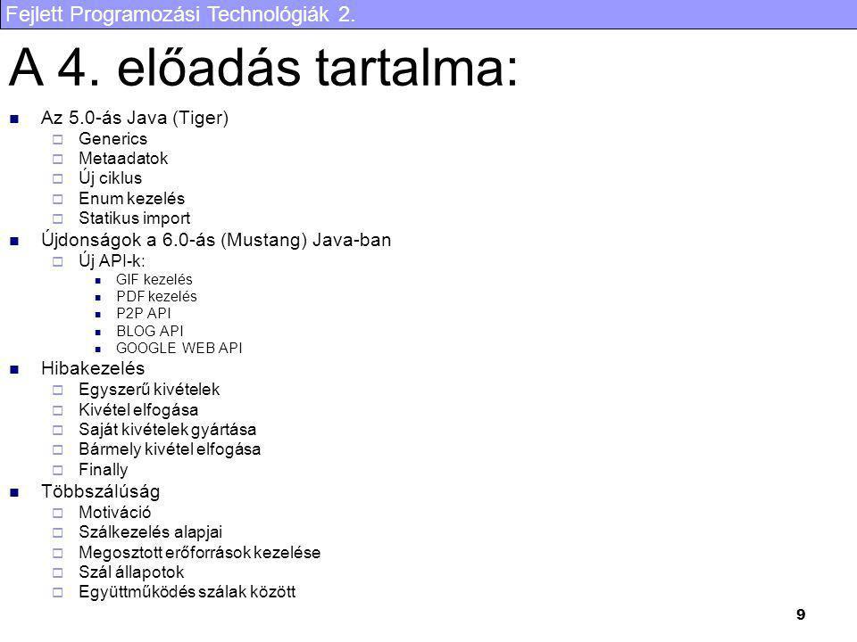 A 4. előadás tartalma: Az 5.0-ás Java (Tiger)