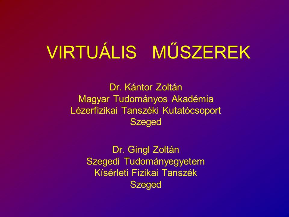 VIRTUÁLIS MŰSZEREK. Dr. Kántor Zoltán Magyar Tudományos Akadémia Lézerfizikai Tanszéki Kutatócsoport Szeged.