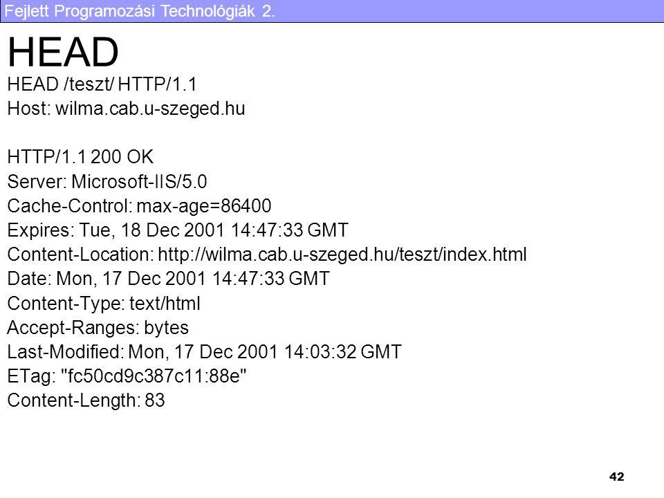 HEAD HEAD /teszt/ HTTP/1.1 Host: wilma.cab.u-szeged.hu HTTP/1.1 200 OK