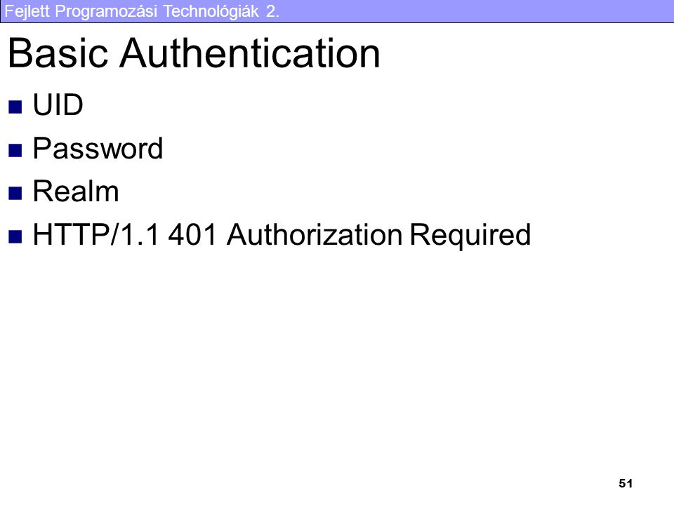 Basic Authentication UID Password Realm