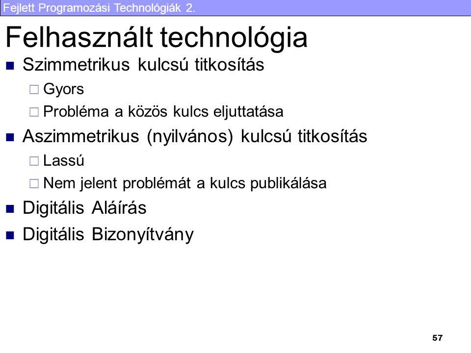 Felhasznált technológia