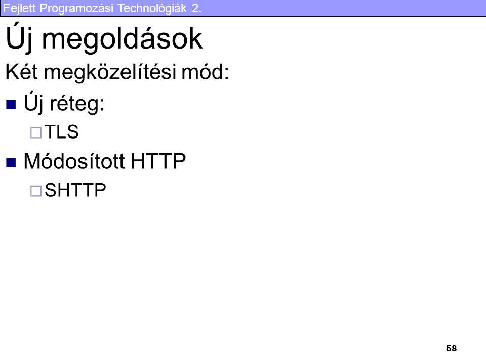 Új megoldások Két megközelítési mód: Új réteg: Módosított HTTP TLS