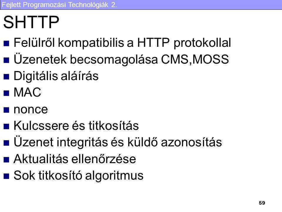 SHTTP Felülről kompatibilis a HTTP protokollal