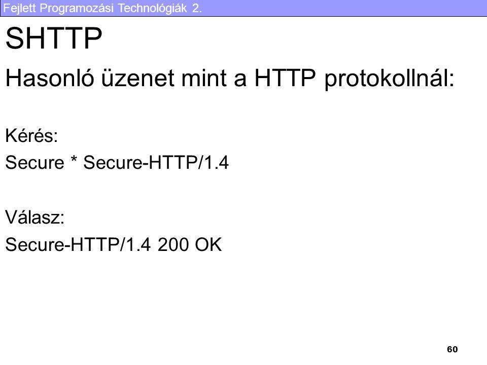 SHTTP Hasonló üzenet mint a HTTP protokollnál: Kérés: