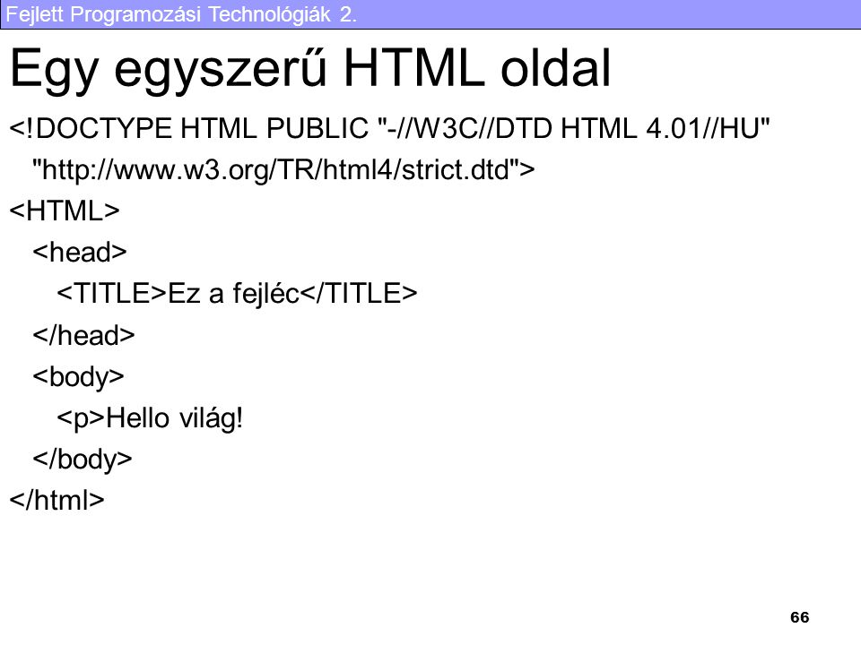 Egy egyszerű HTML oldal