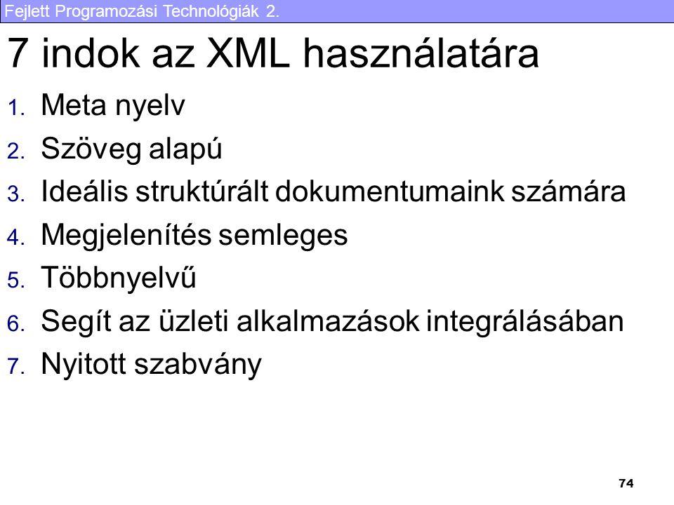 7 indok az XML használatára