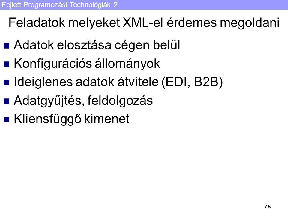 Feladatok melyeket XML-el érdemes megoldani