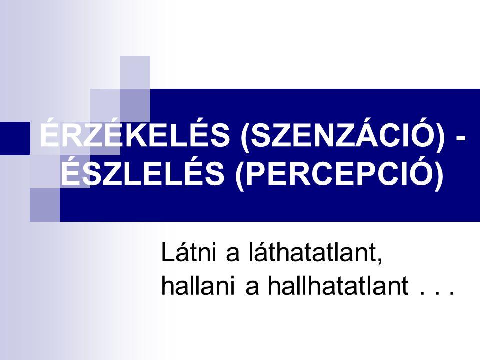 ÉRZÉKELÉS (SZENZÁCIÓ) - ÉSZLELÉS (PERCEPCIÓ)