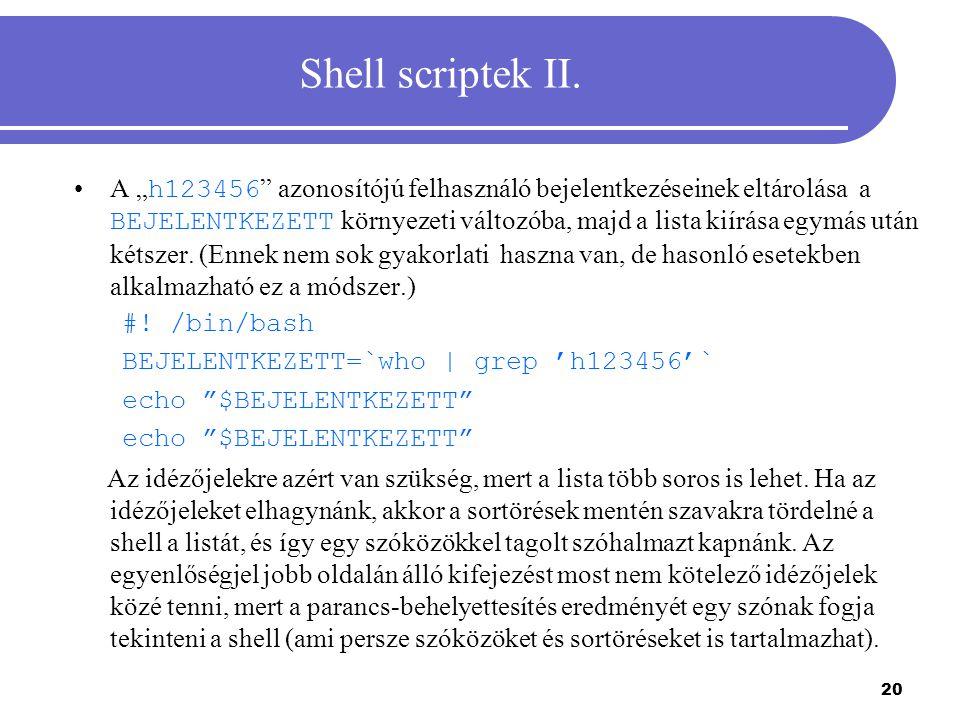 Shell scriptek II.
