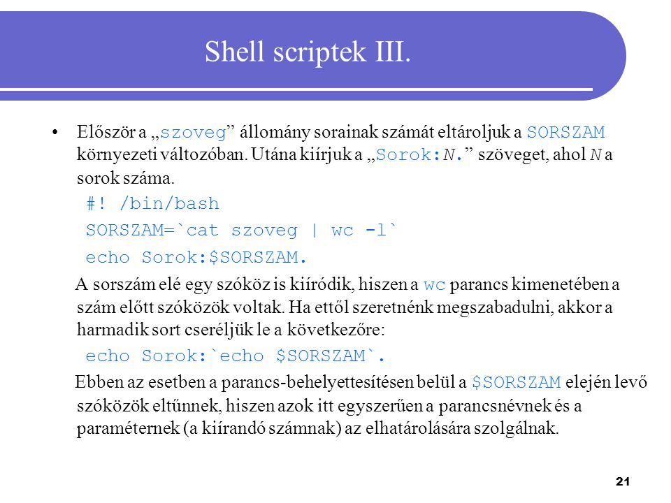 Shell scriptek III.