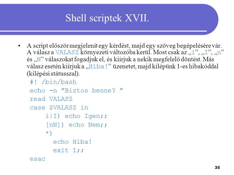 Shell scriptek XVII.