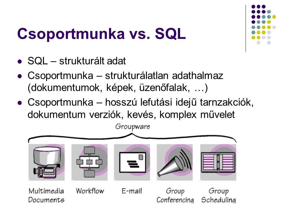Csoportmunka vs. SQL SQL – strukturált adat