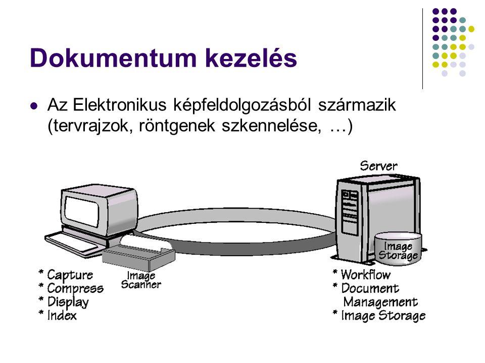 Dokumentum kezelés Az Elektronikus képfeldolgozásból származik (tervrajzok, röntgenek szkennelése, …)
