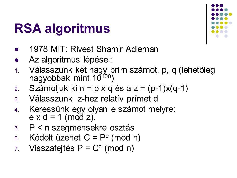 RSA algoritmus 1978 MIT: Rivest Shamir Adleman Az algoritmus lépései: