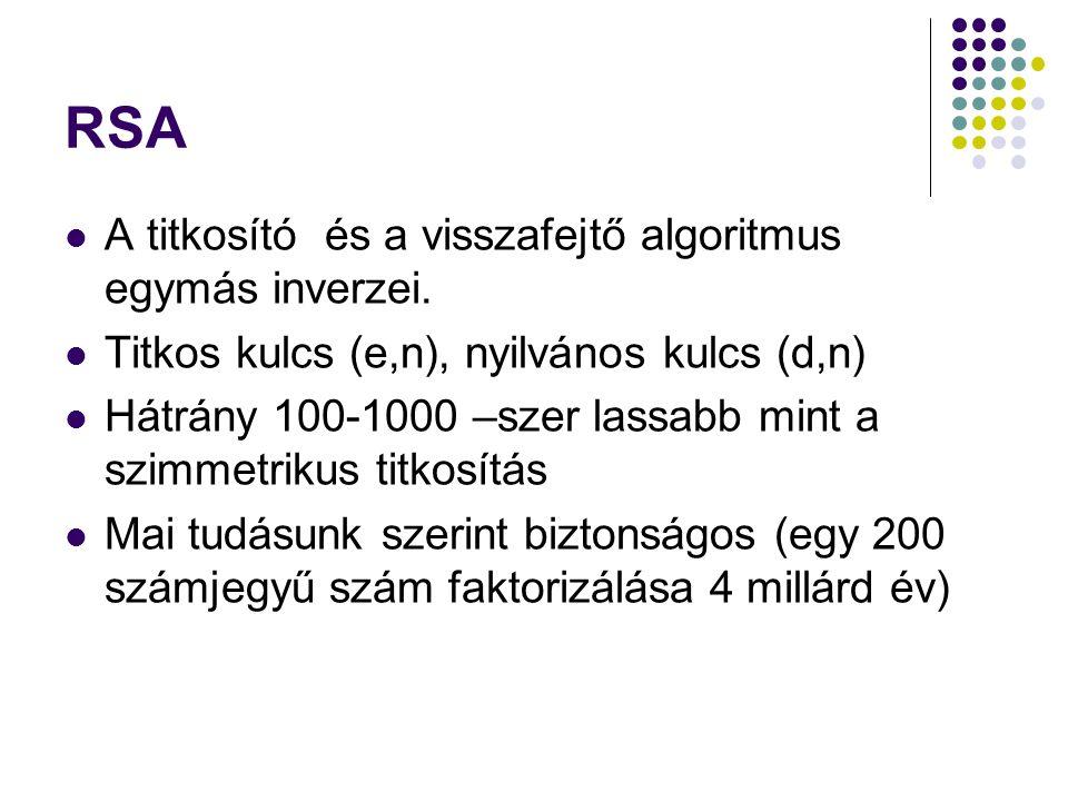 RSA A titkosító és a visszafejtő algoritmus egymás inverzei.