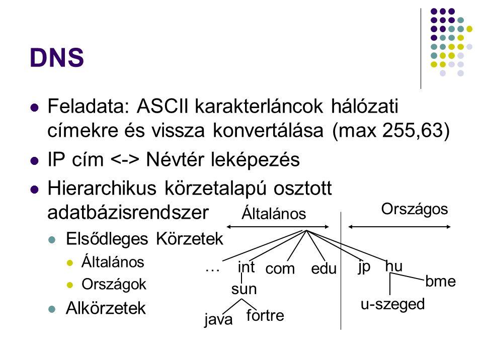 DNS Feladata: ASCII karakterláncok hálózati címekre és vissza konvertálása (max 255,63) IP cím <-> Névtér leképezés.