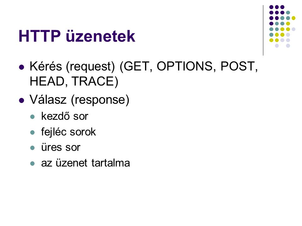 HTTP üzenetek Kérés (request) (GET, OPTIONS, POST, HEAD, TRACE)