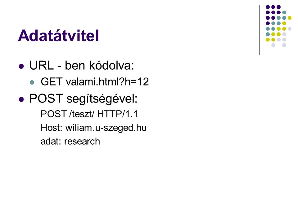 Adatátvitel URL - ben kódolva: POST segítségével: GET valami.html h=12