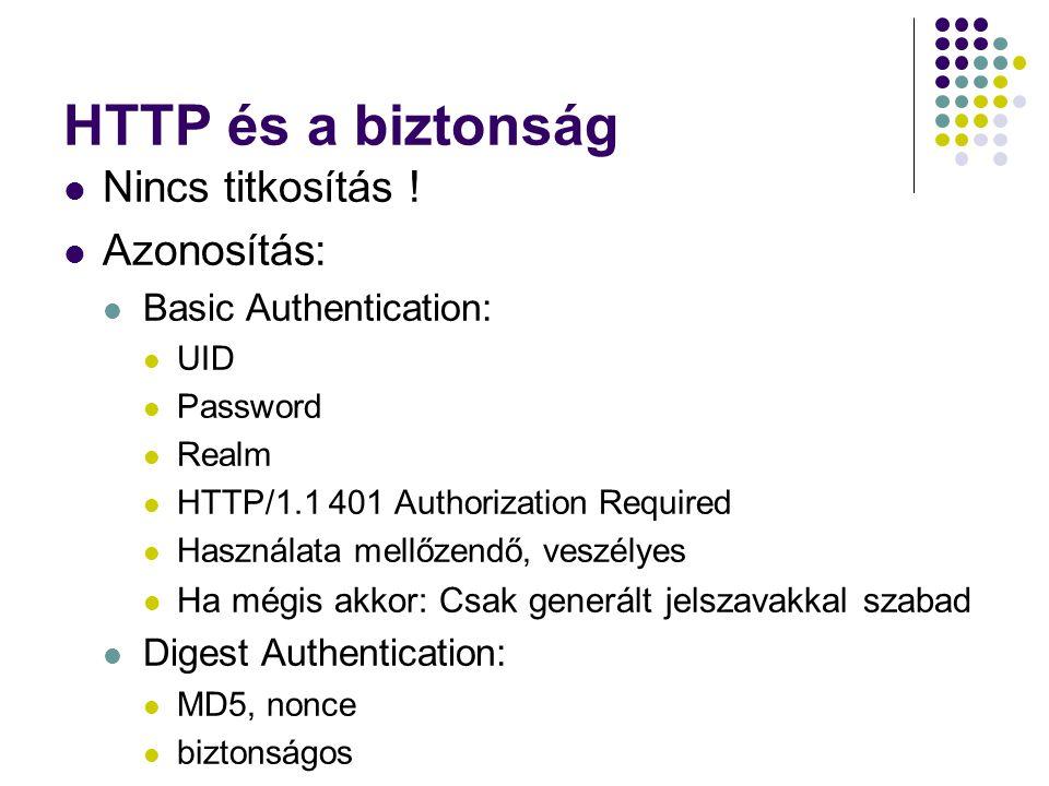 HTTP és a biztonság Nincs titkosítás ! Azonosítás:
