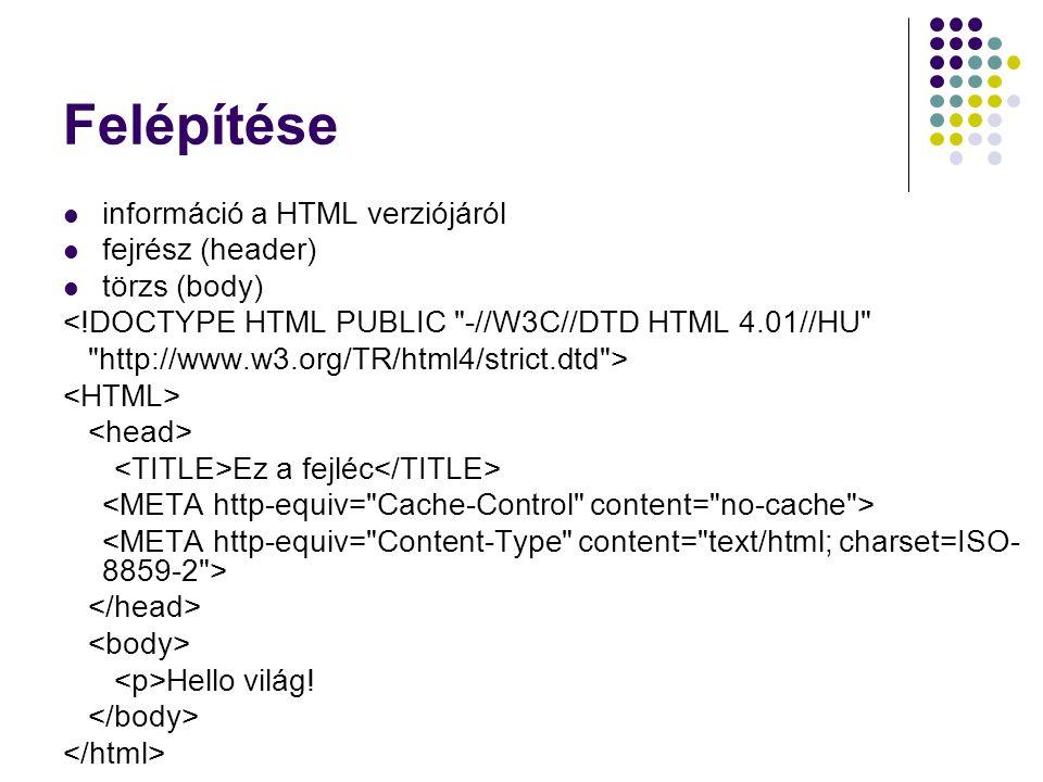 Felépítése információ a HTML verziójáról fejrész (header) törzs (body)