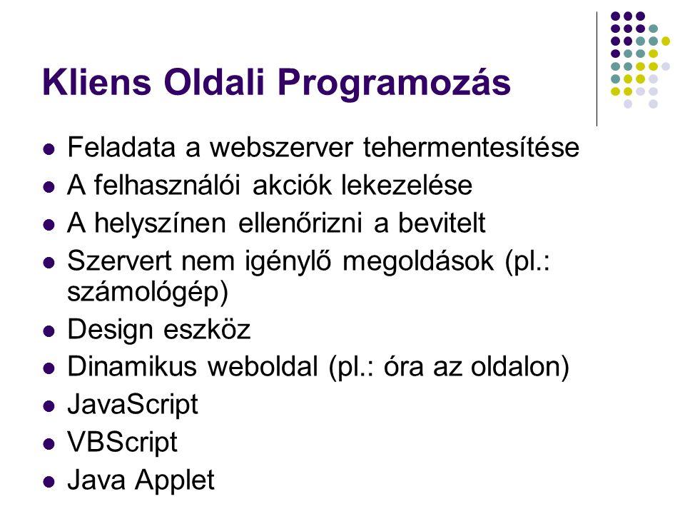 Kliens Oldali Programozás