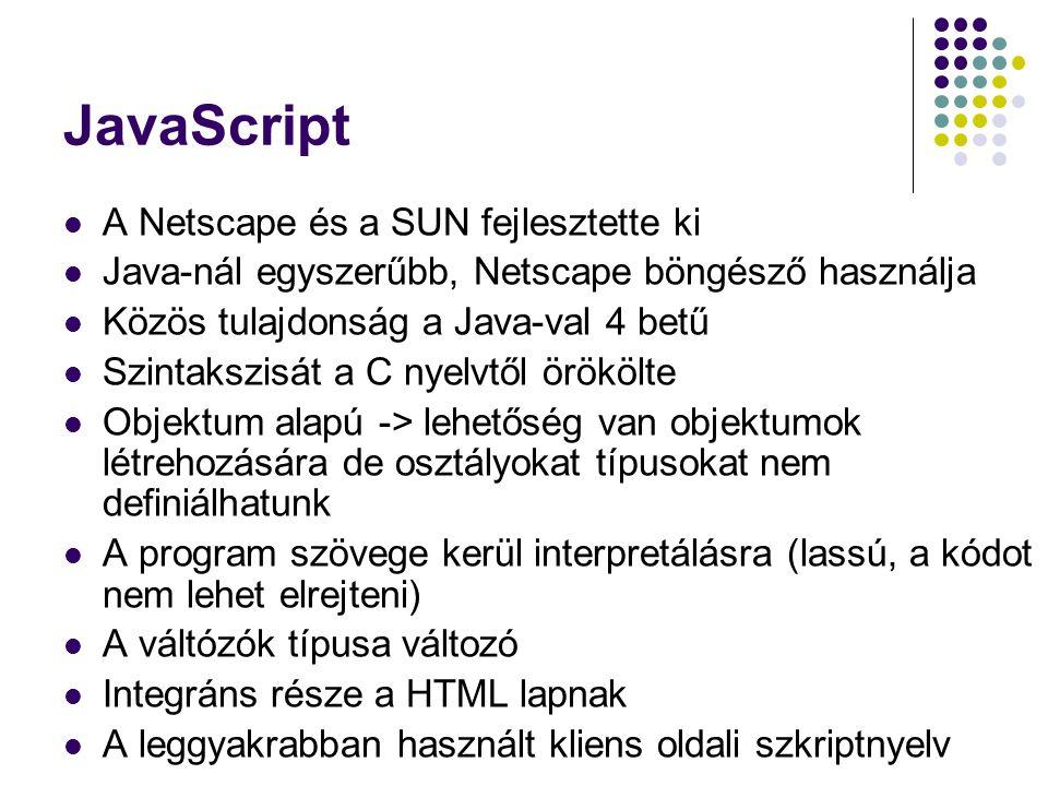 JavaScript A Netscape és a SUN fejlesztette ki