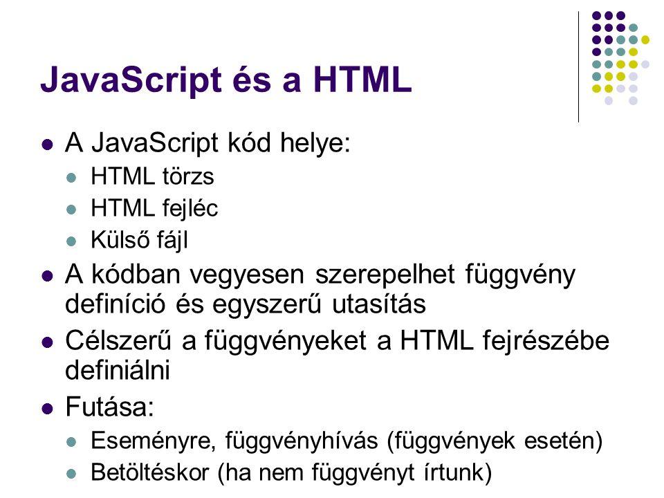 JavaScript és a HTML A JavaScript kód helye:
